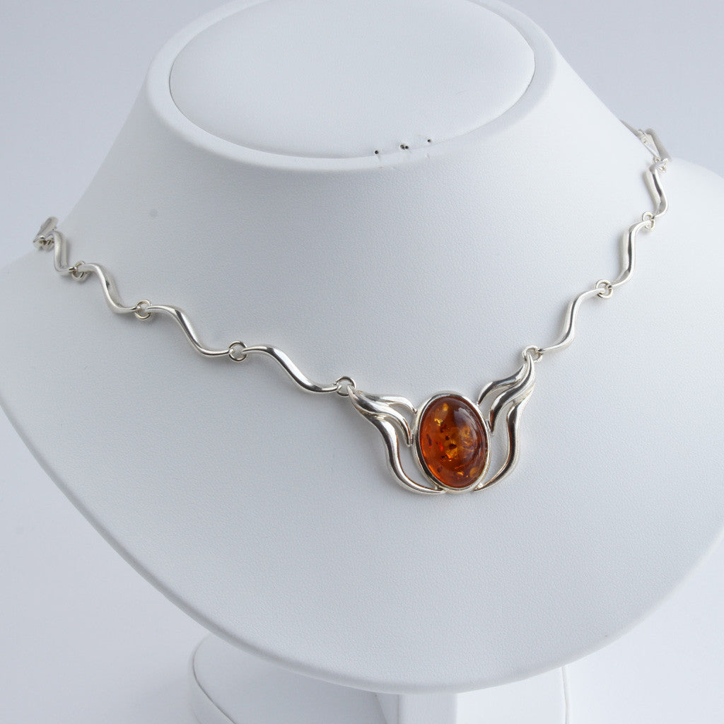Baltic Amber Wavy Silver Necklace available at The Amber Room
