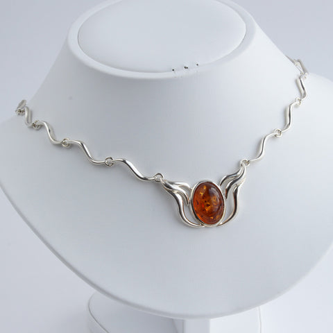 Baltic Amber Wavy Silver Necklace