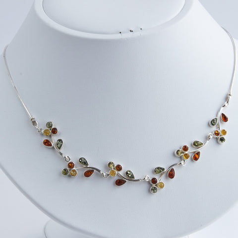 Baltic Amber Leaf Vine Necklace