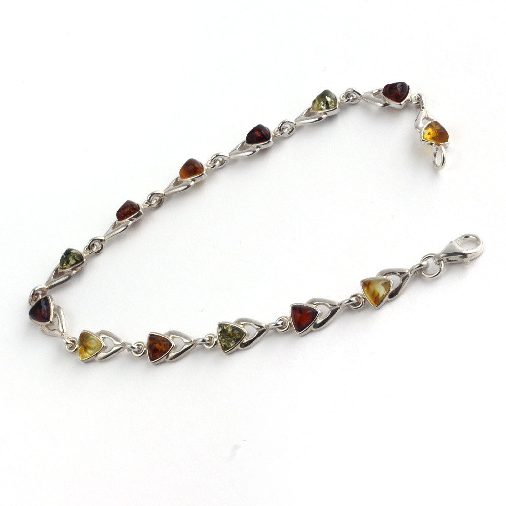Baltic Amber Variety Triangle Stones Bracelet available at The Amber Room
