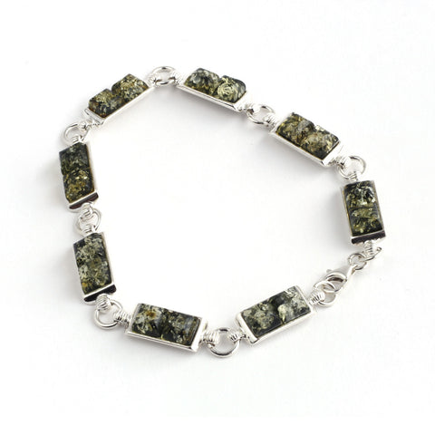 Green Amber Square Stones with Circle Links Silver Bracelet