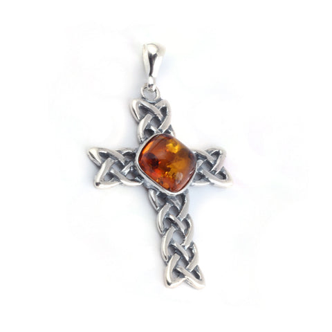 Baltic Amber Center Celtic Cross Pendant