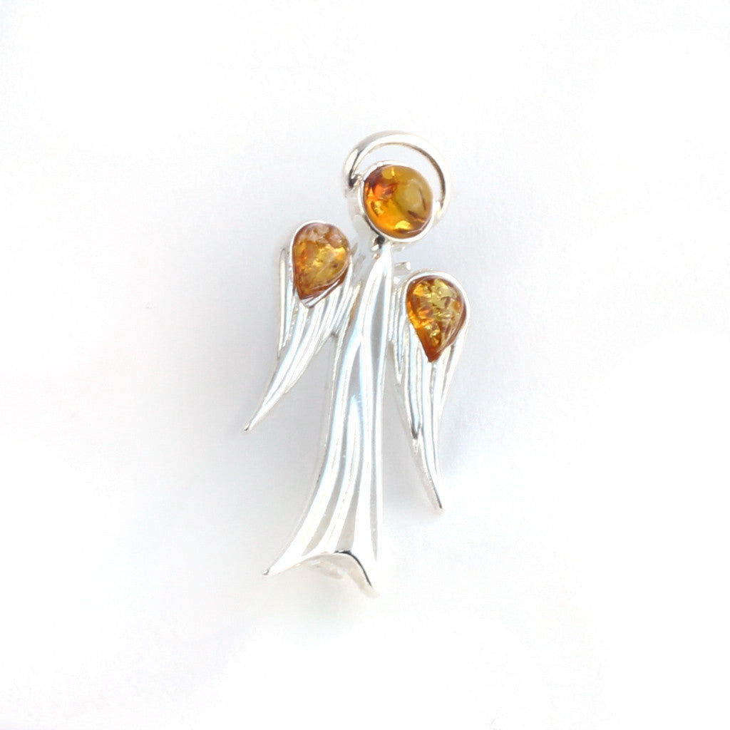 Baltic Amber Silver Angel Brooch available at The Amber Room