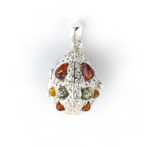 Amber & Silver Oval Locket Pendant