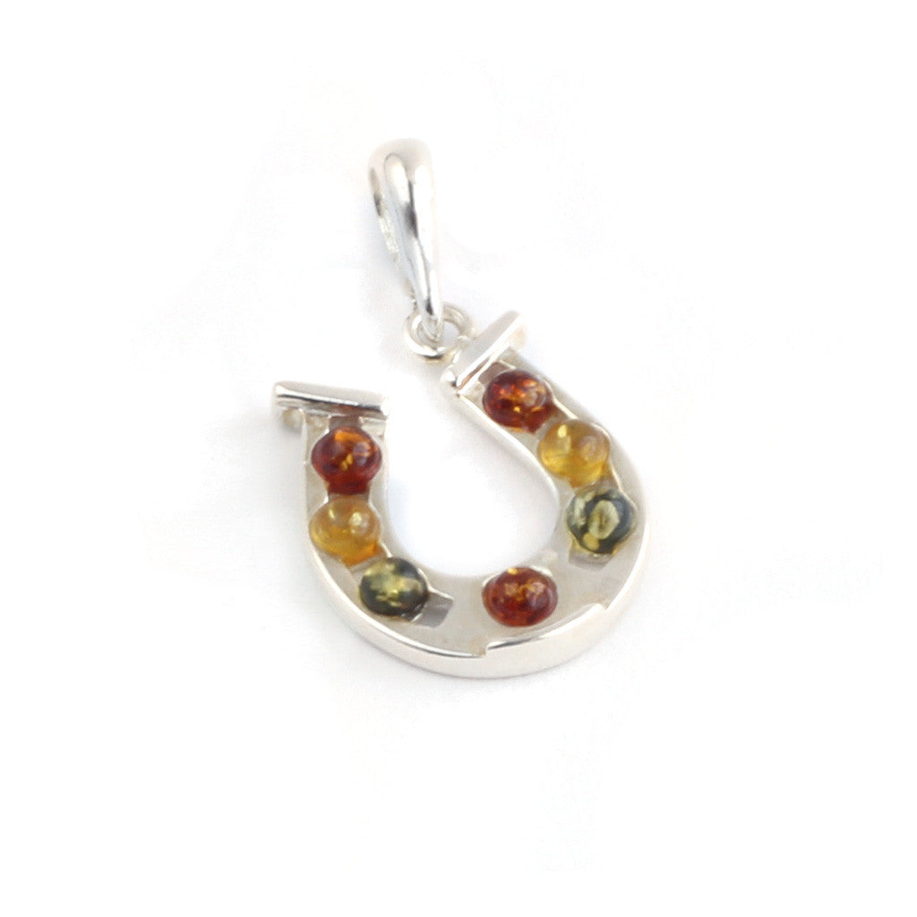 Baltic Amber Silver Horseshoe Pendant available at The Amber Room