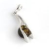 Green Amber Stone Silver Pendant available at The Amber Room