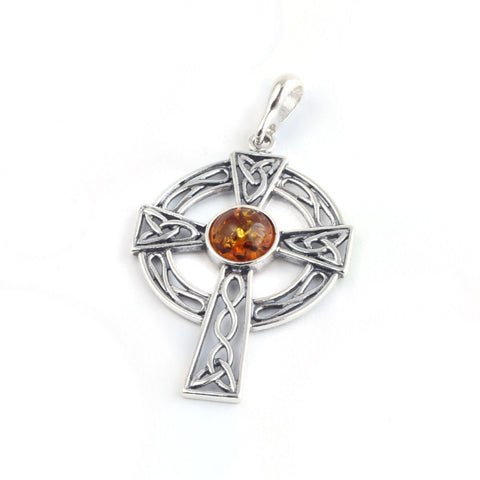 Baltic Amber Celtic Cross Pendant
