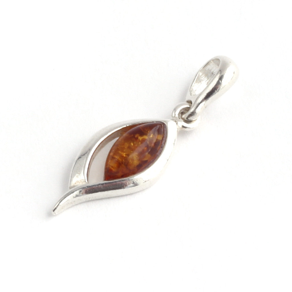 Baltic Amber Ellipse Silver Pendant available at The Amber Room