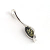 Green Amber Long Silver Pendant available at The Amber Room