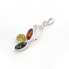 Baltic Amber Variety Three Leaf Silver Pendant