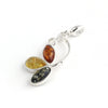 Baltic Amber Variety Three Leaf Silver Pendant available at The Amber Room