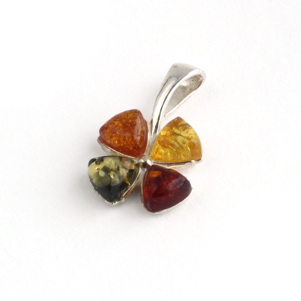 Baltic Amber Variety Four Leaf Clover Lucky Pendant available at The Amber Room