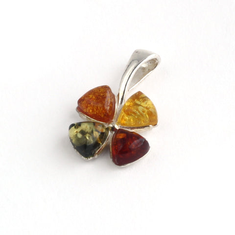 Baltic Amber Variety Four Leaf Clover Lucky Pendant