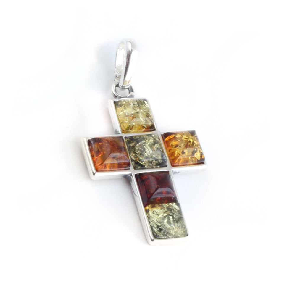 Baltic Amber Variety Cross Pendant