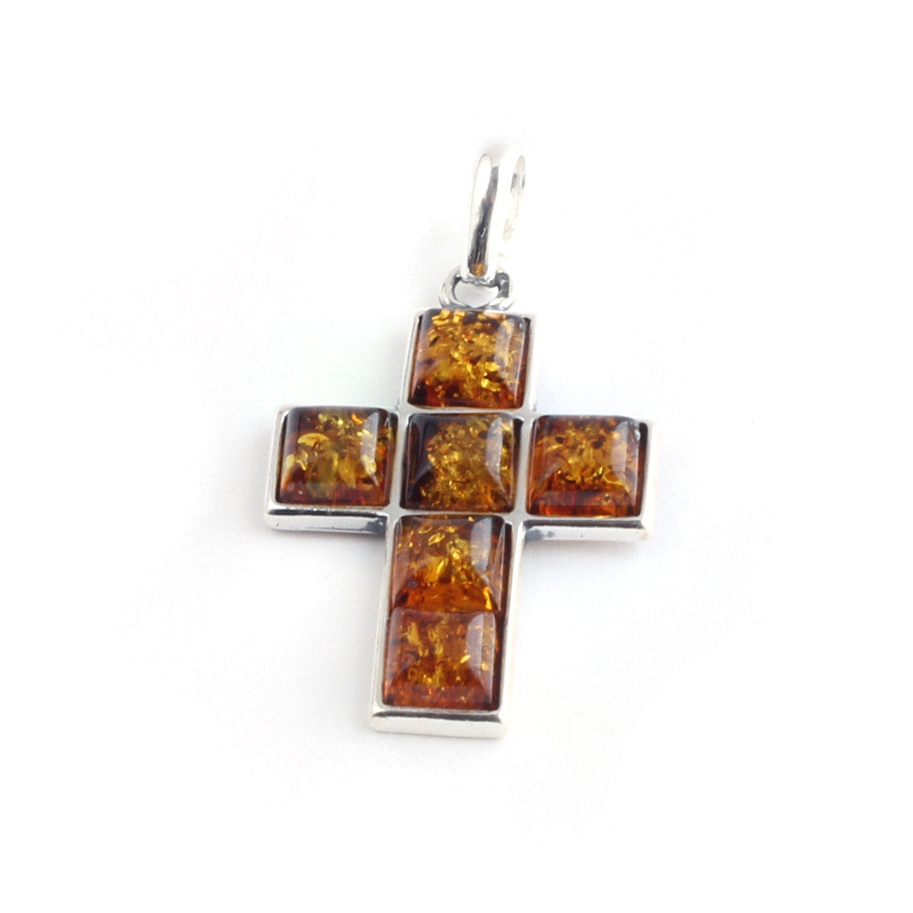 Baltic Amber Cross Pendant available at The Amber Room
