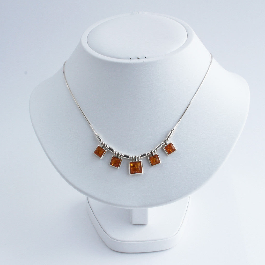 Baltic Amber Five Square Necklace available at The Amber Room