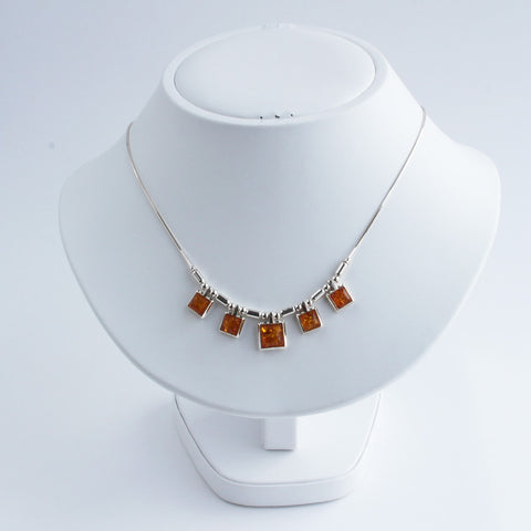 Baltic Amber Five Square Necklace