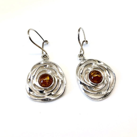 Amber and Silver Round Earrings in Swirls