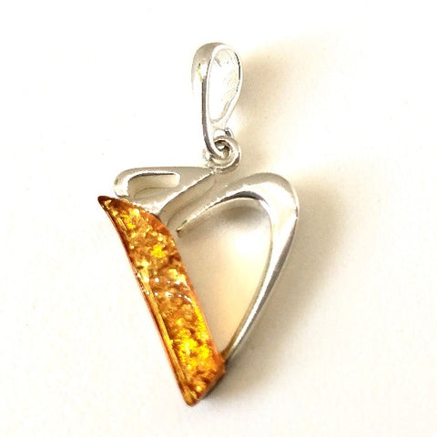 "Amber and Silver Pendant - Initial ""V"""