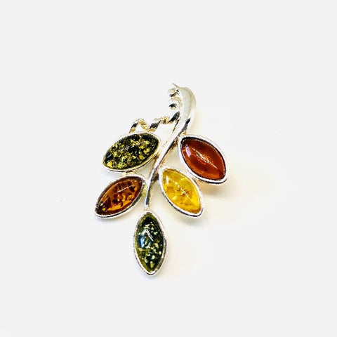 Baltic Amber and Silver Multicolour Leaf Pendant