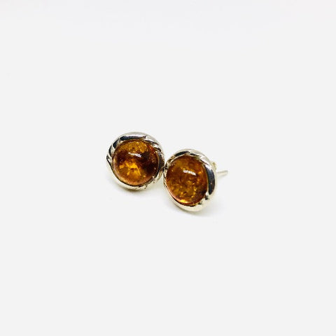 Amber and Silver Round Stud Earrings