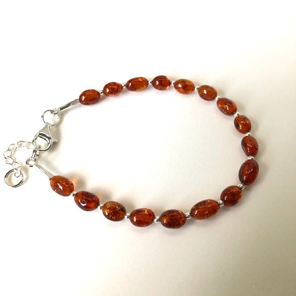 Amber and Silver Bead Bracelet