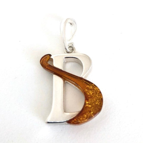 "Amber and Silver Pendant - Initial ""B"""