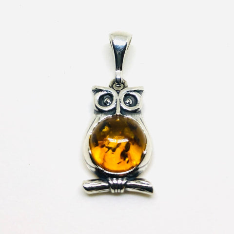 Baltic Amber and Silver Owl Pendant