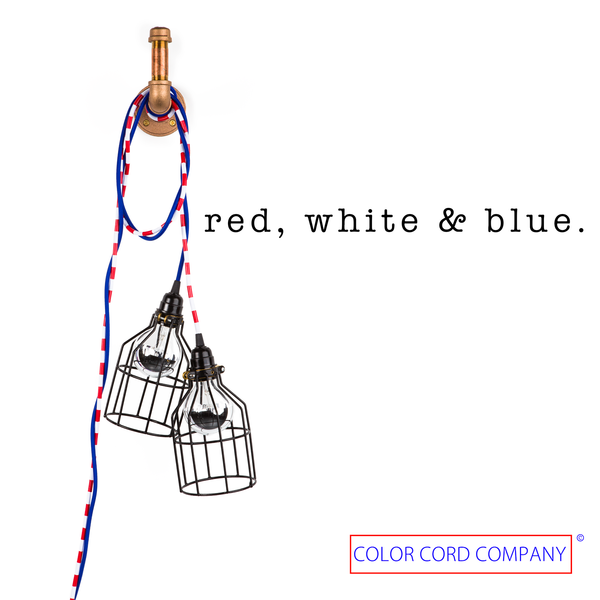 red, white and blue cord sets with industrial cages