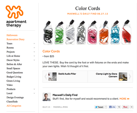Screenshot of Color Cord on Apartment Therapy website