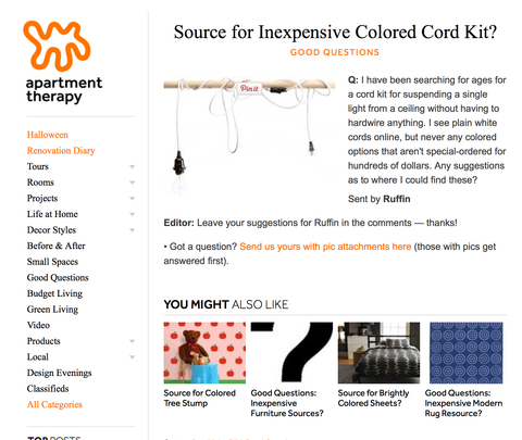 Apartment Therapy screenshot for colored cord kits