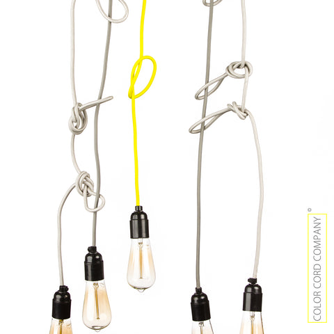 DIY cloth covered light cords, grey, silver, neon yellow