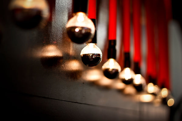 Red Pendant Cord and Mirrored Light Bulbs