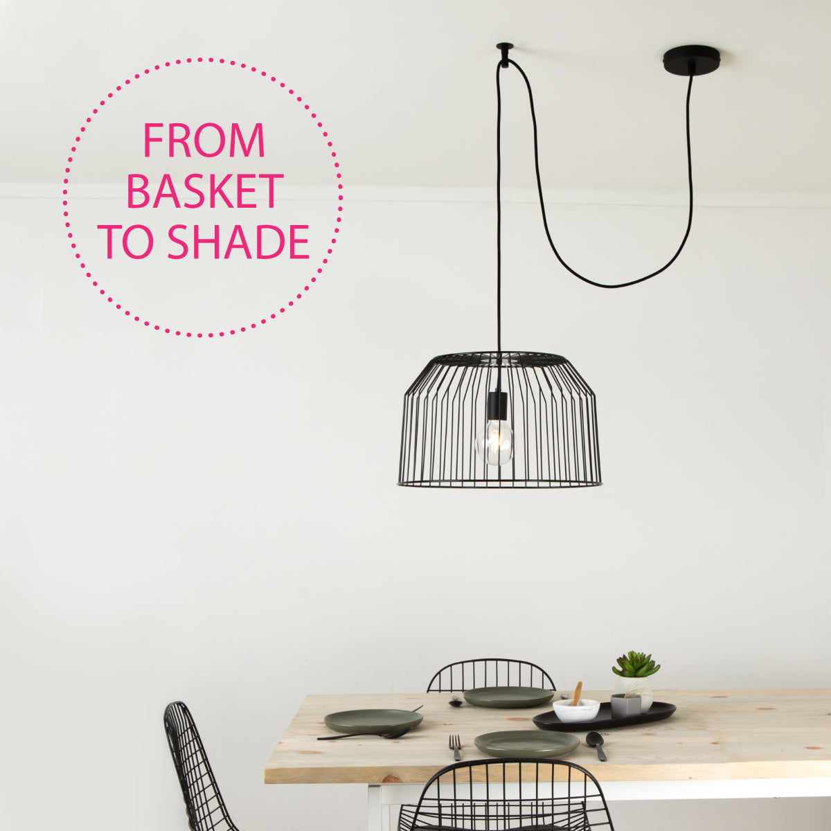 Black pendant light with wire basket shade
