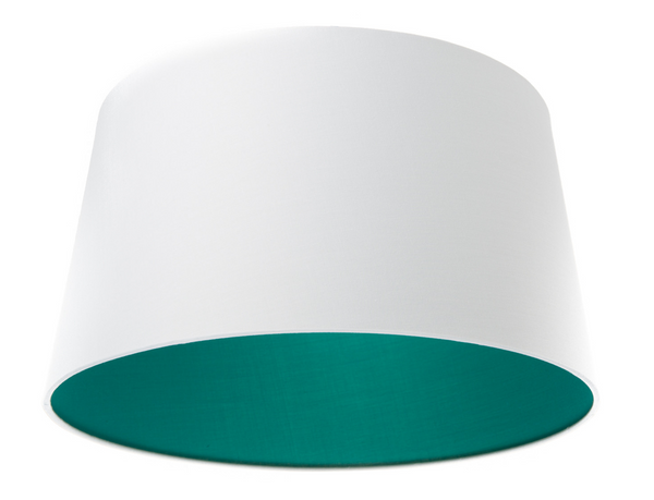 Fabric Tapered Shade - White / Teal