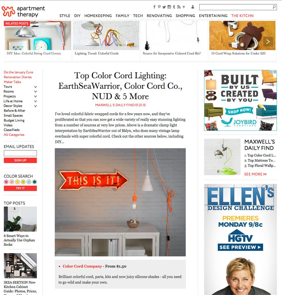 Apartment Therapy webpage with 'Top Color Cord Lighting'