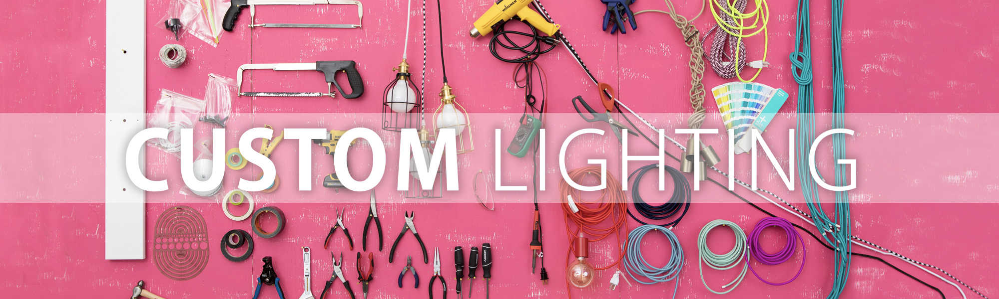 'Custom Lighting' banner with various tools and light fixtures