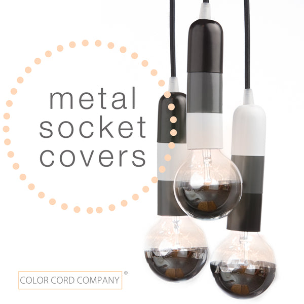 Contemporary pendant set with stacked light socket covers