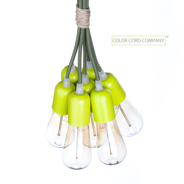 Custom pendant bunch chandelier with color cord company parts