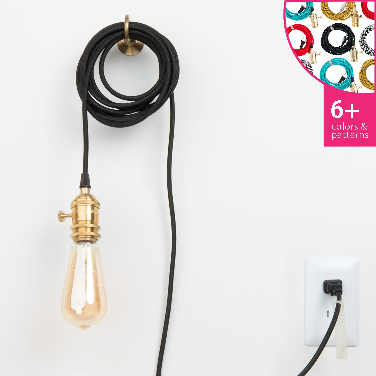 Plug in pendant light cord set silicone color cord company plug in pendant light cord set brass aloadofball Gallery