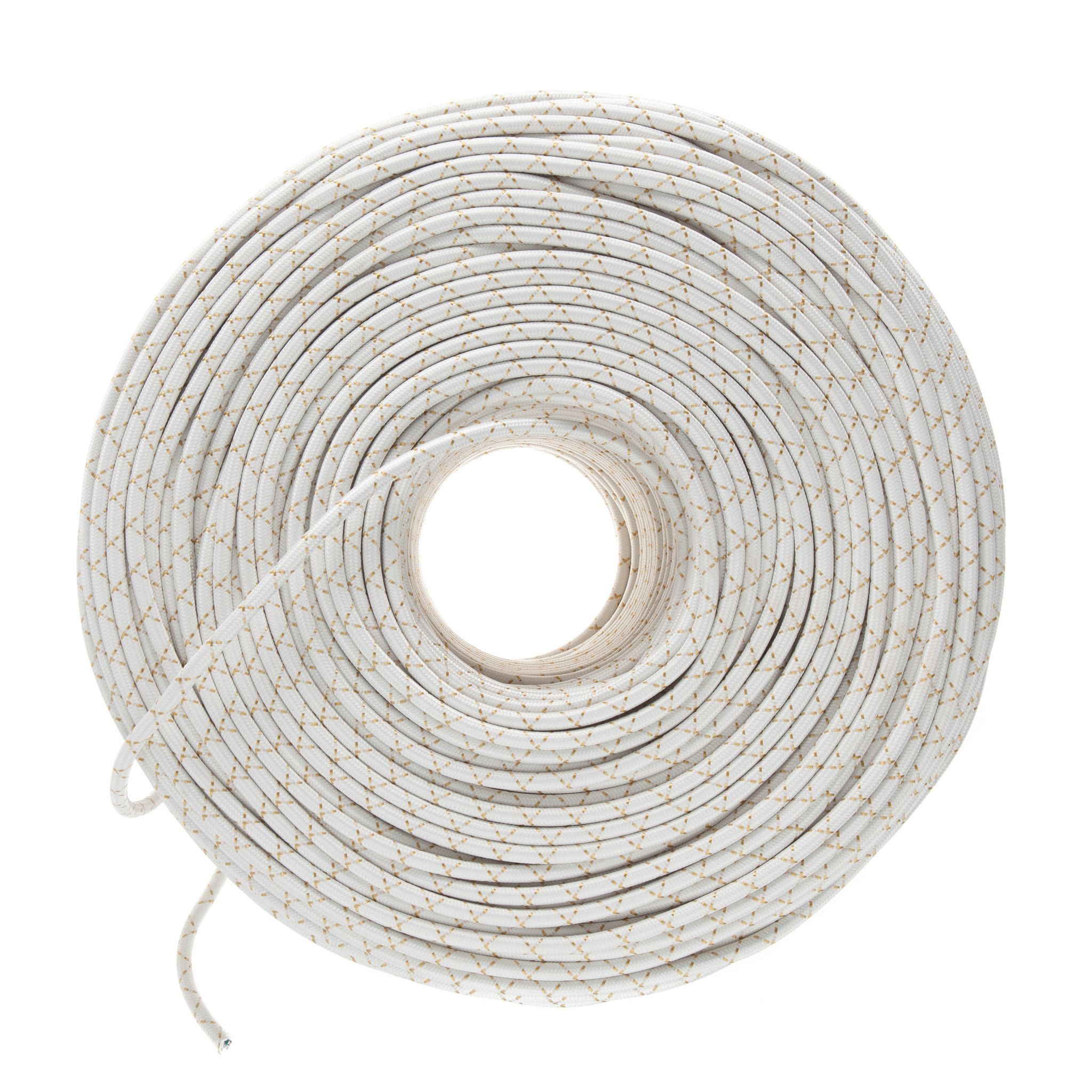 Cloth Covered Electrical Wire - White & Brass X | Color Cord Company