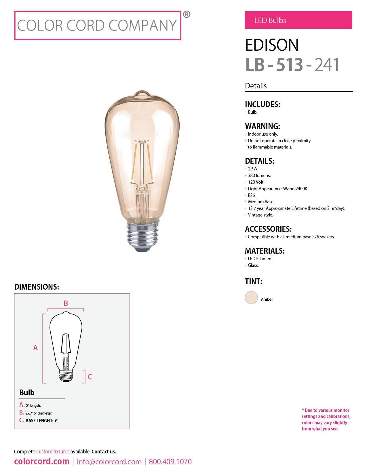 Edison Led Bulb Amber 25w Color Cord Company Diagram Of The Incandescent Light How Flourescent