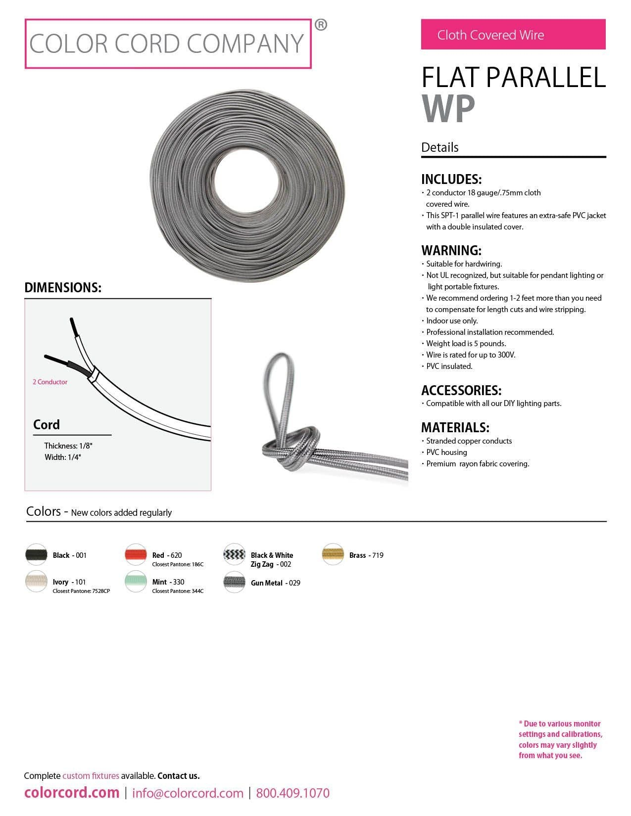Diy Flat Parallel Wire Spt 1 Mint Color Cord Company