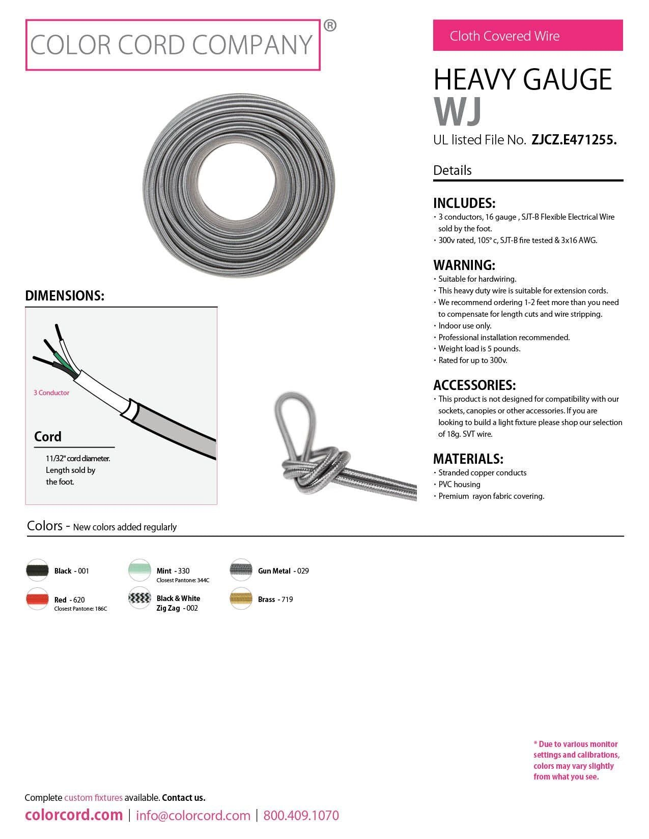 diy fabric sjt wire by the foot