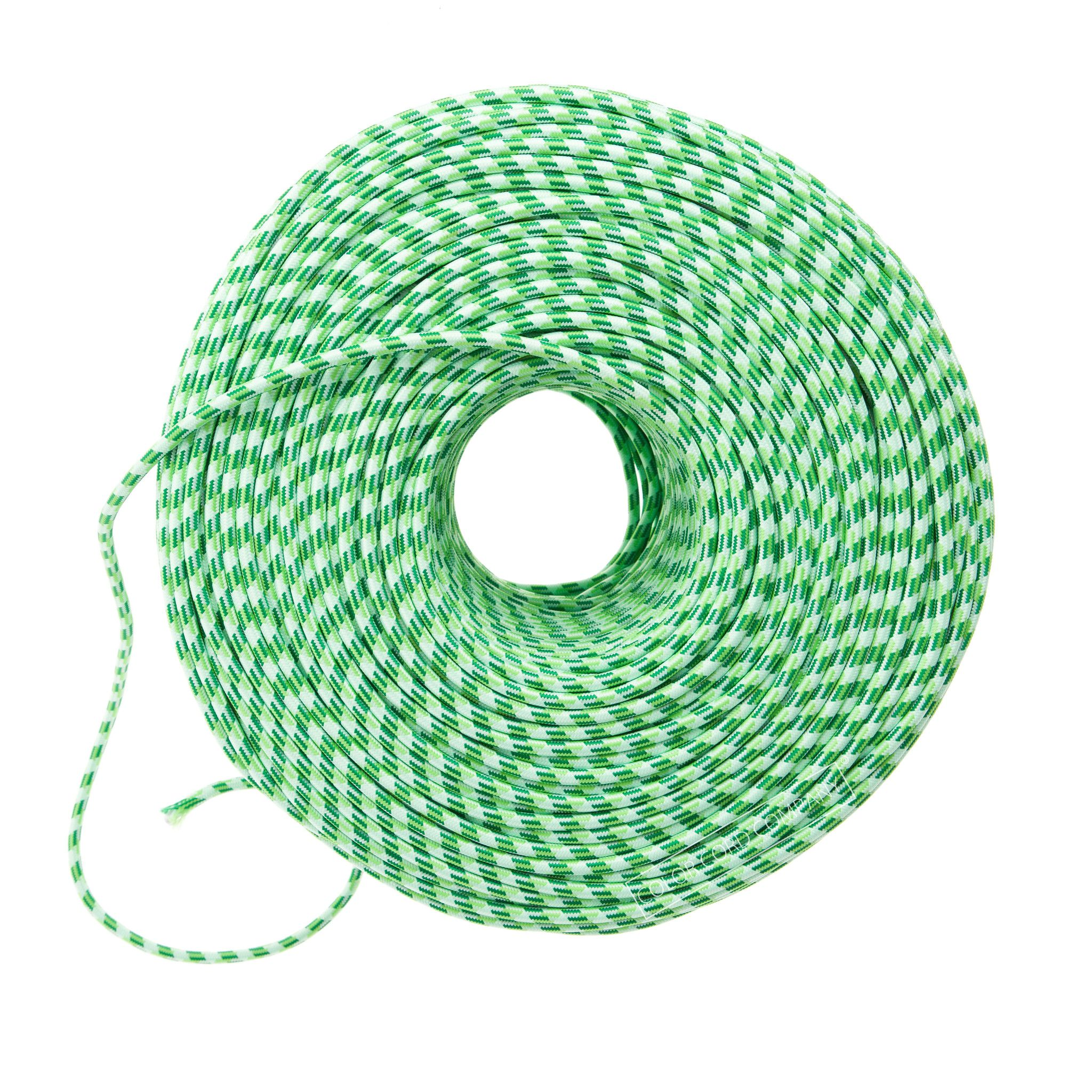 Cloth Covered Wire - Green Argyle | Color Cord Company