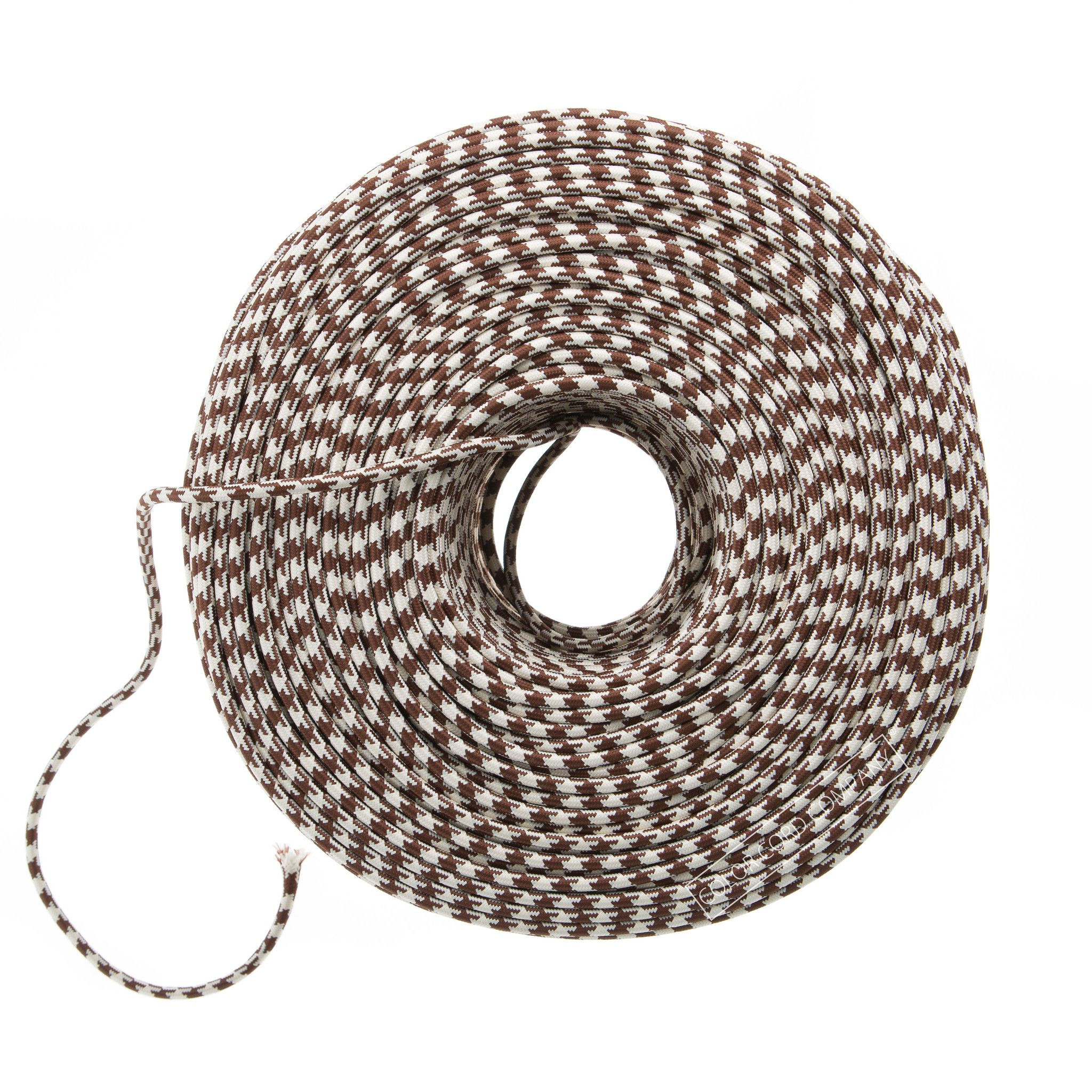 So Cord Listed 3 4 5 Conductor So Sow Cable Flexible Cored: Cloth Covered Wire - Brown & Ivory Houndstooth