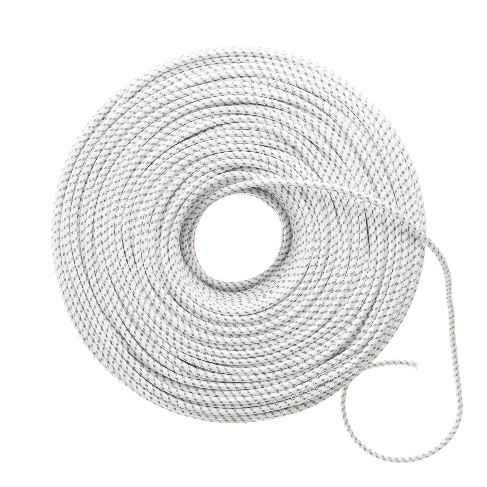 Cloth Covered Wire - Wite & Gray Dot | Color Cord Company