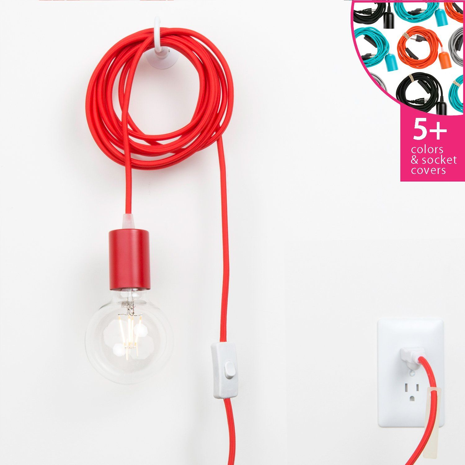Plug-In Pendant Light Cord Set - Metal Socket Cover | Color Cord Company