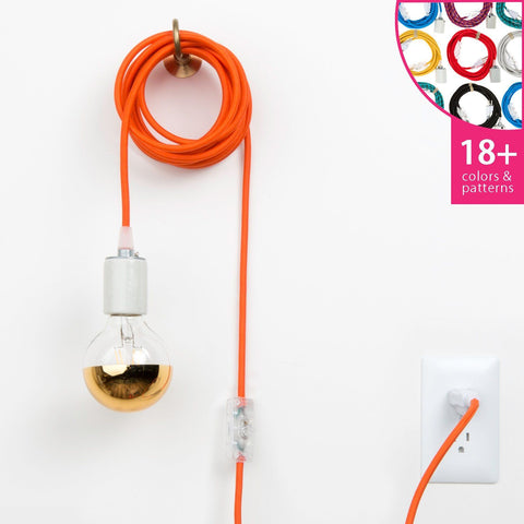 Plug in pendant light fixtures color cord company plug in pendant light cord set porcelain aloadofball Choice Image