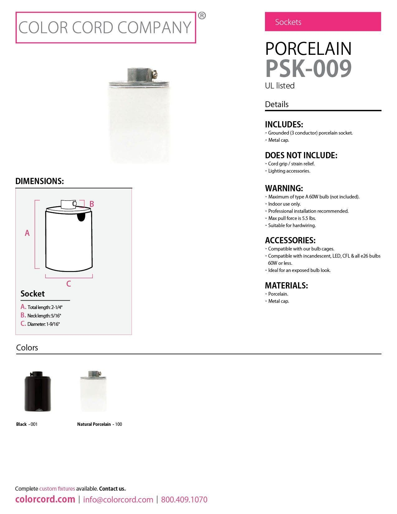 Porcelain Light Fixture Wiring Diagram List Of Schematic Circuit 4 Pin Cfl Grounded Socket Black Color Cord Company Rh Colorcord Com